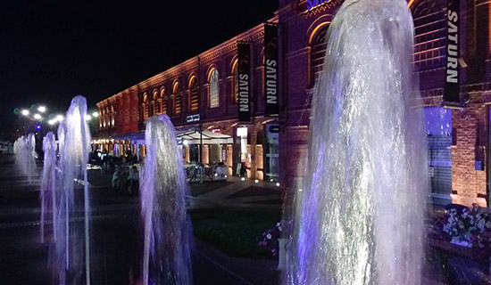 Fountains in front of the shops and bars