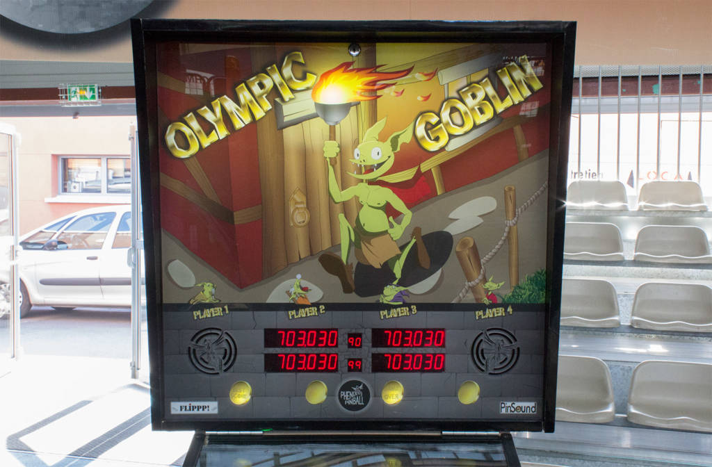 The backbox of Olympic Goblin from Phenix Pinball