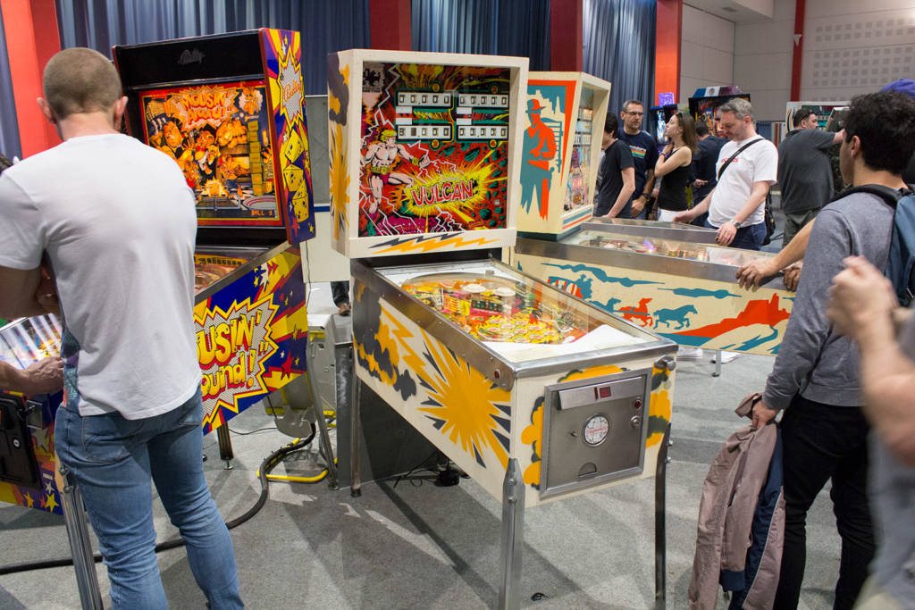 Some of the free play machines in the games hall