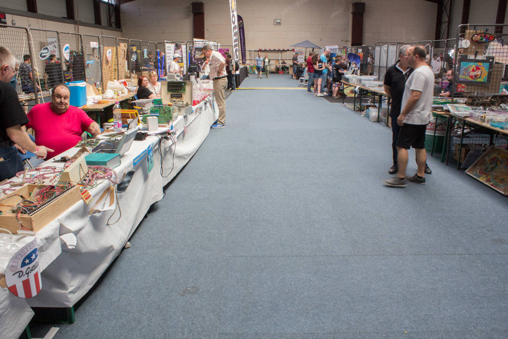 The vendor hall on Sunday morning