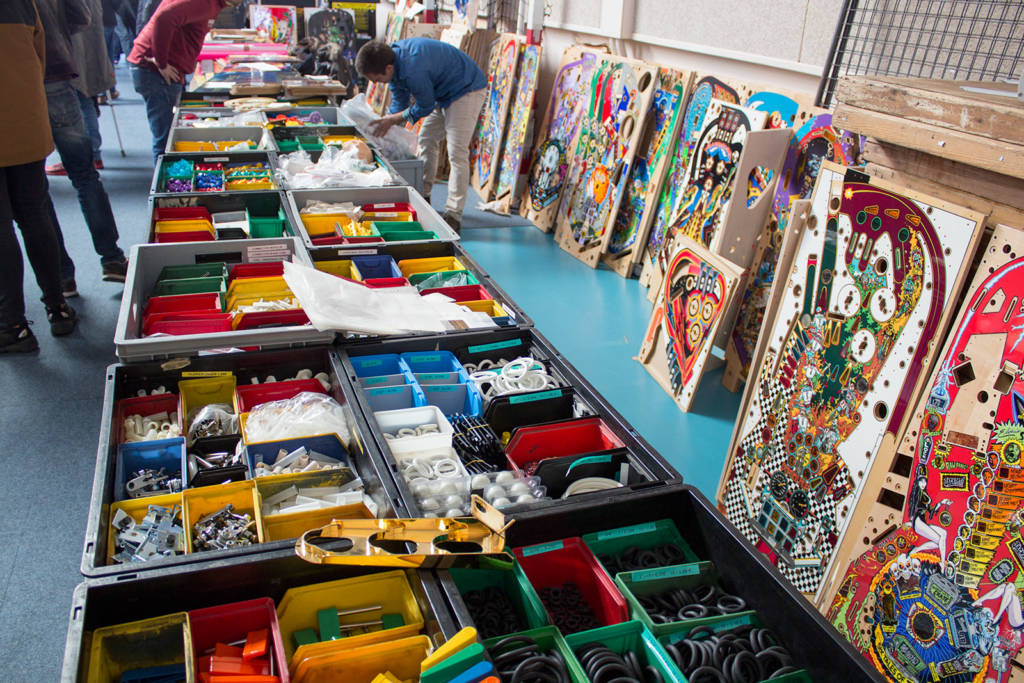 Mirco also had plenty of regular pinball parts for sale