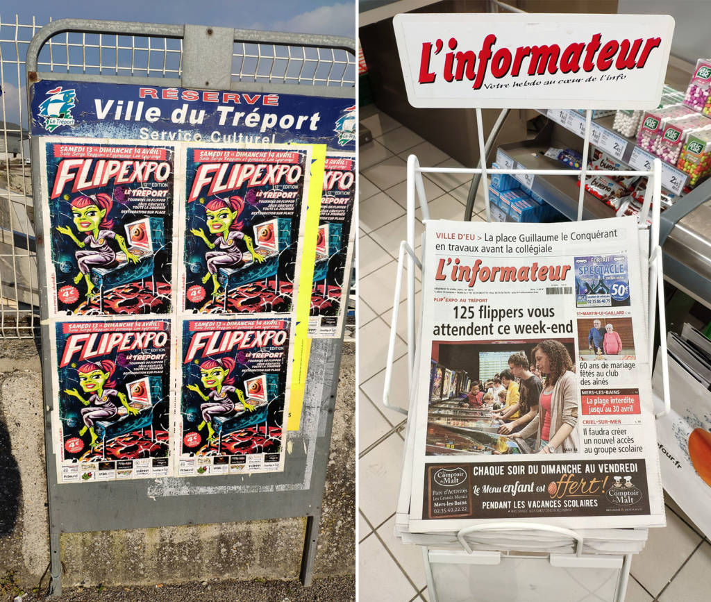 Posters near the dock and the local newspaper's front page