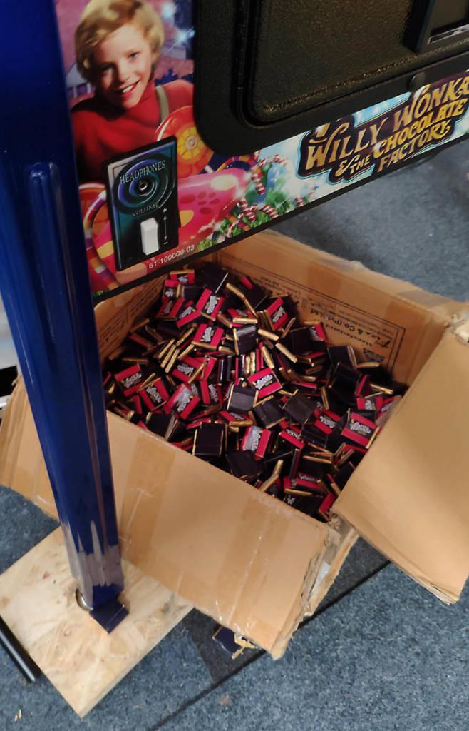 The box of miniature Wonka Bars