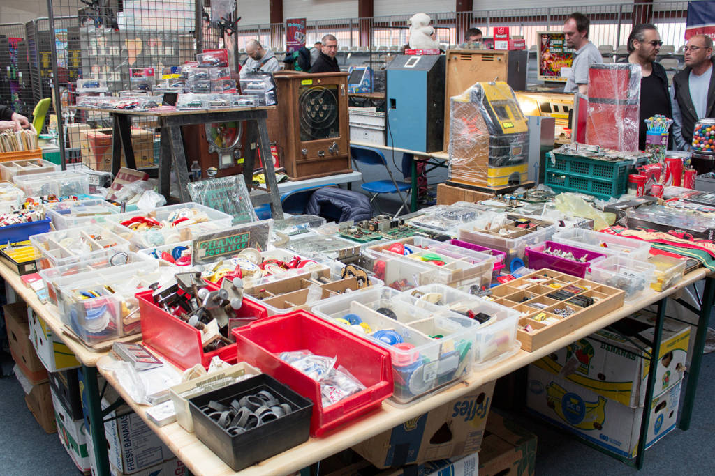 The stand at the end of the row had all kinds of different memorabilia and gaming parts