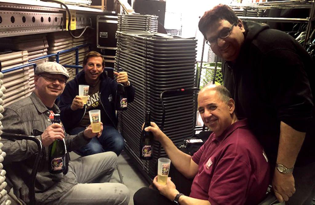 Jonathan, Jack, Martin and Franck enjoying the Flip Expo label champagne