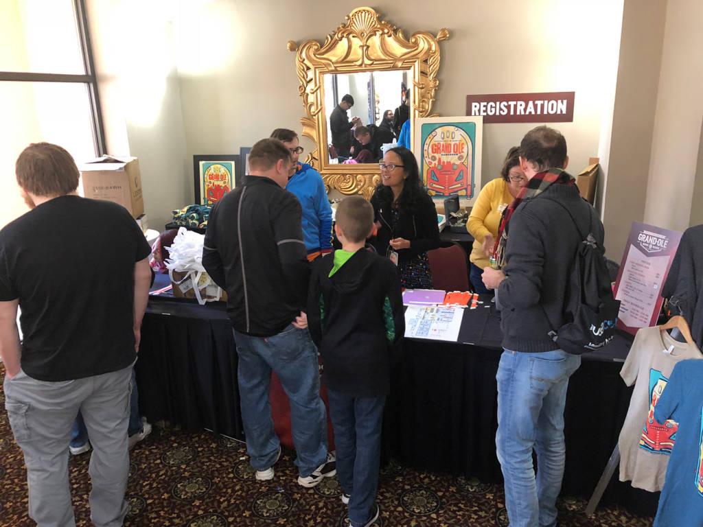 The show registration desk