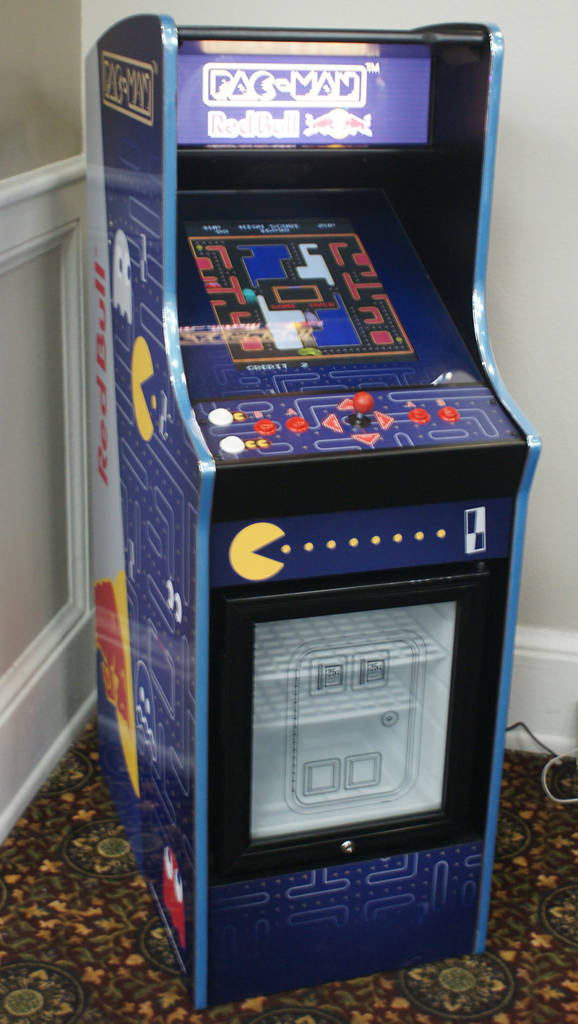 Pac-Man with a Red Bull chiller below