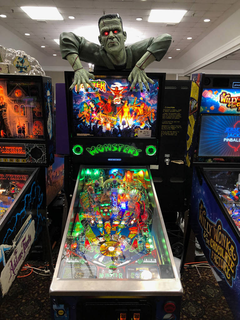 Frenkenstein's Monster tries to escape from the Monster Bash remake machine