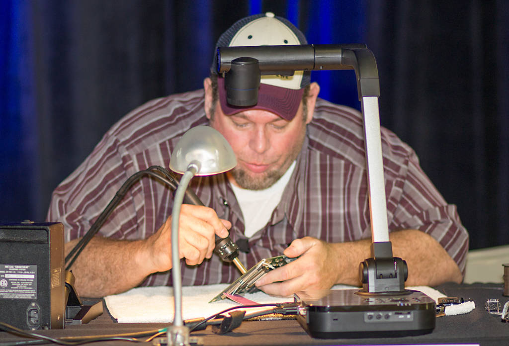 Rob Anthony wielding his soldering iron