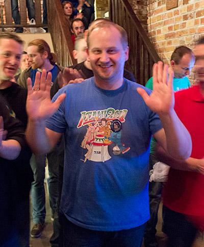 Cezary celebrates the win