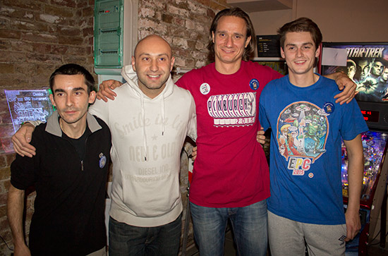 The four finalists in the Hungarian Pinball Open: