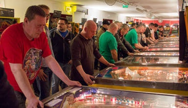 Players at the Hungarian Pinball Open 2015