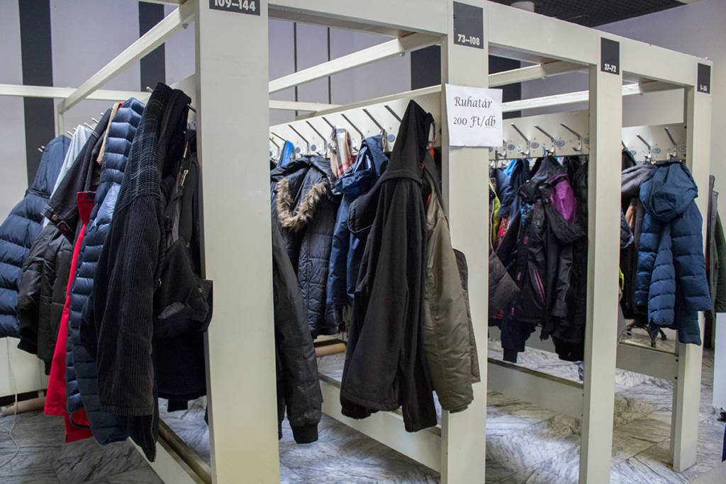 The cloakroom; storage cost 200 Forint ($0.75/€0.65/£0.56)