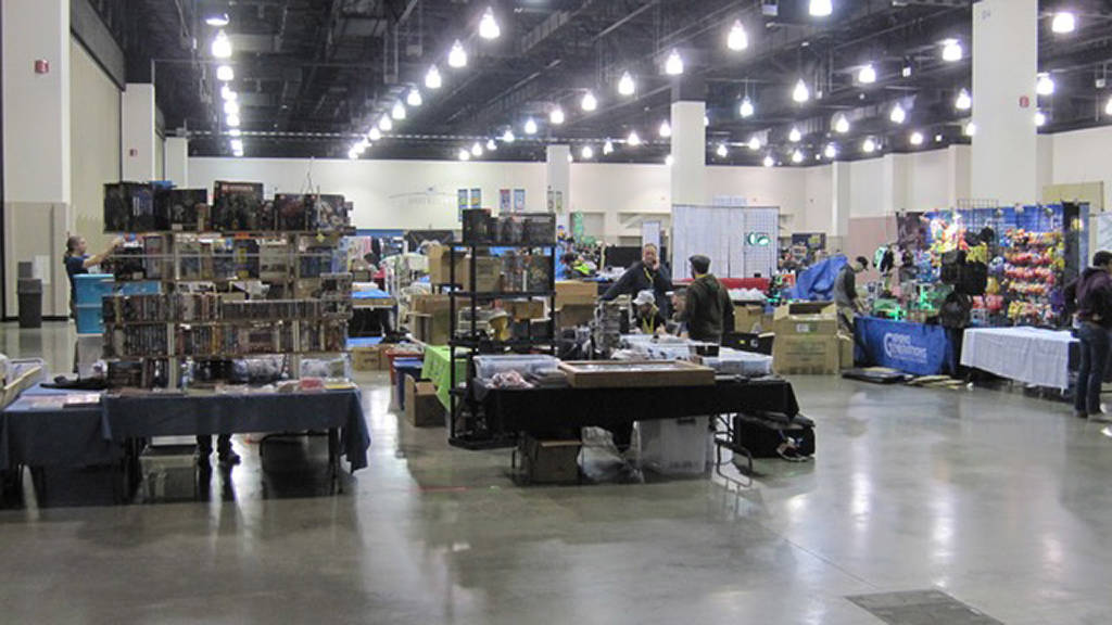 The vendor hall being set up