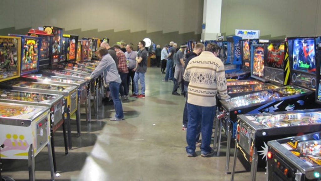 Some of the 200-plus pinball machines at the show on Friday