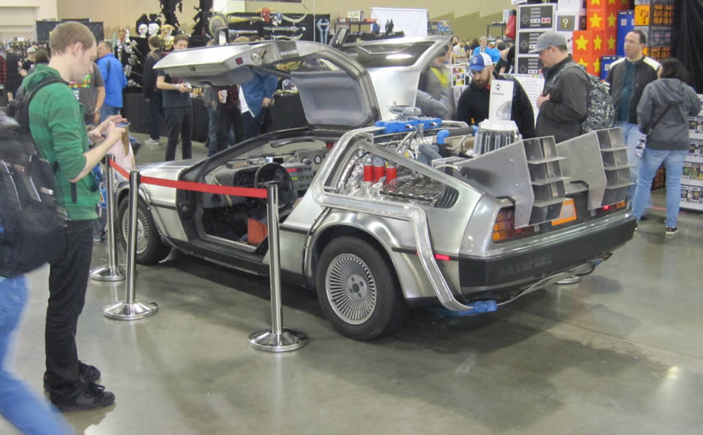 Back to the Future DeLorean car in the vendor hall