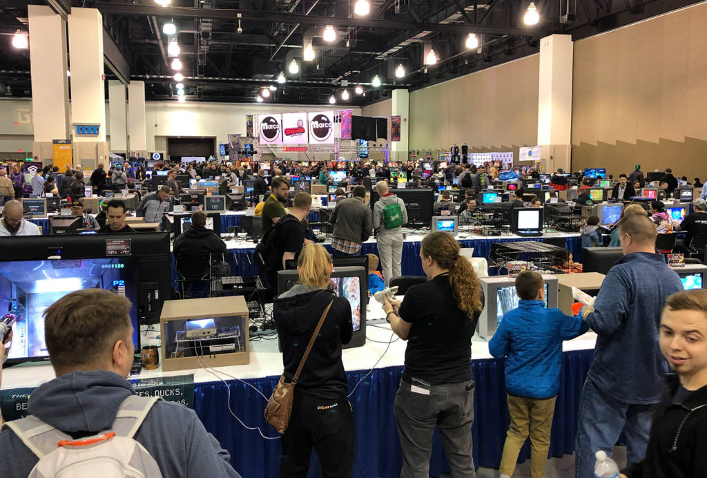 The retro gaming section of the show floor