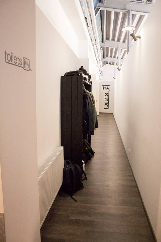 The corridor to the function room and the toilets