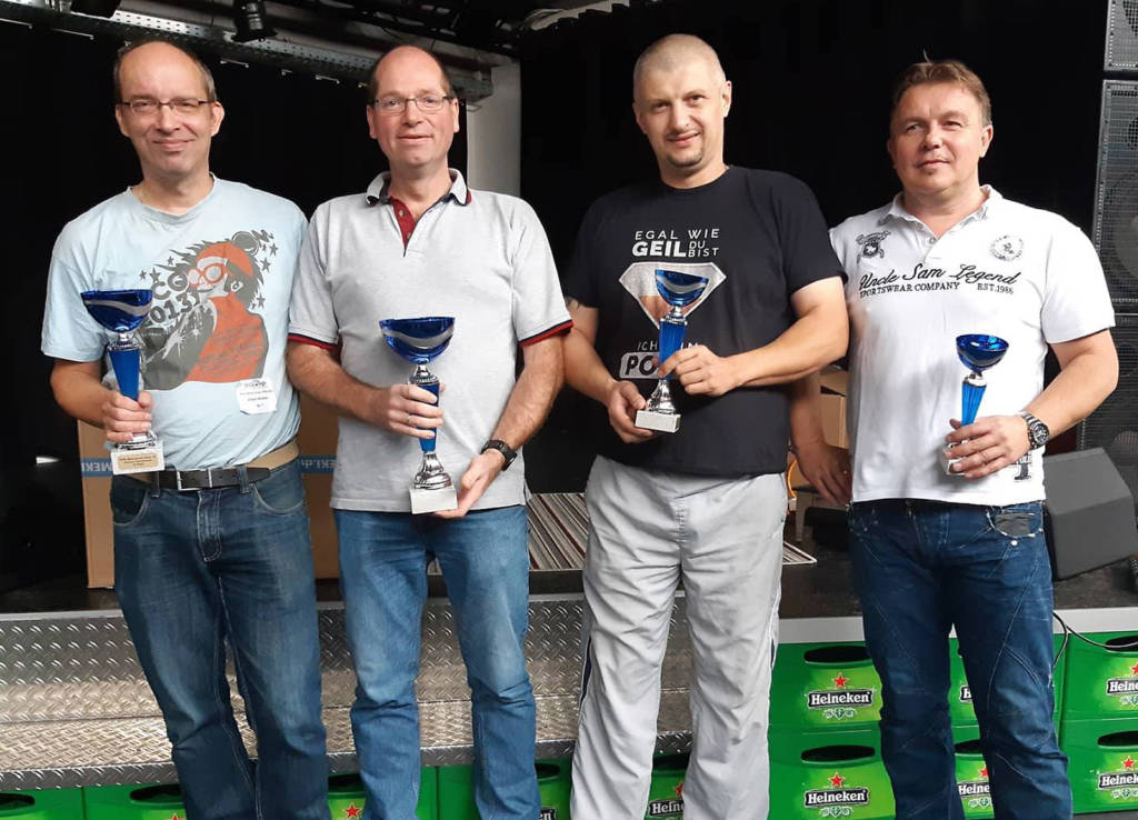 The top four in the Classic Tournament: Albert Nomden (2nd), Jürgen Urban (1st), Martin Janczyk (3rd) and Erwin Deutschländer (4th)