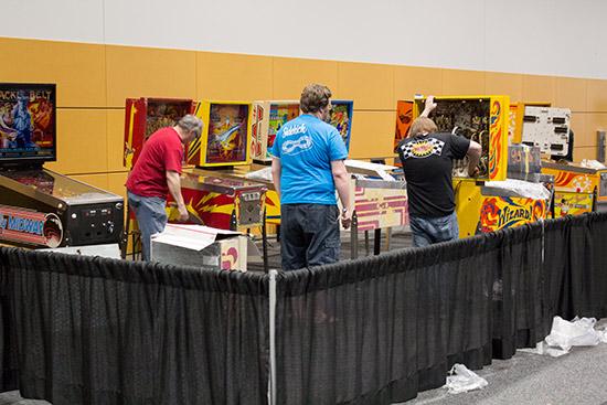 The tournaments team preparing their machines