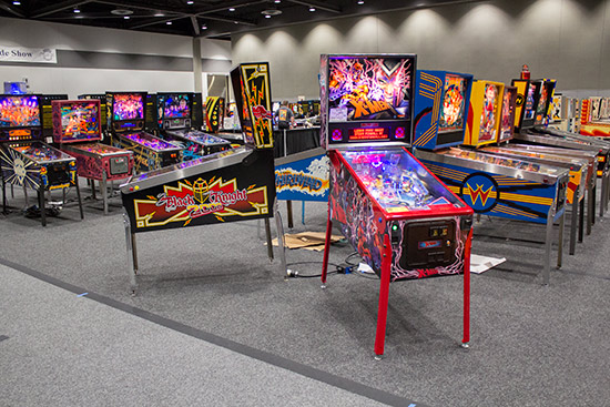Machines on the left side of the show floor