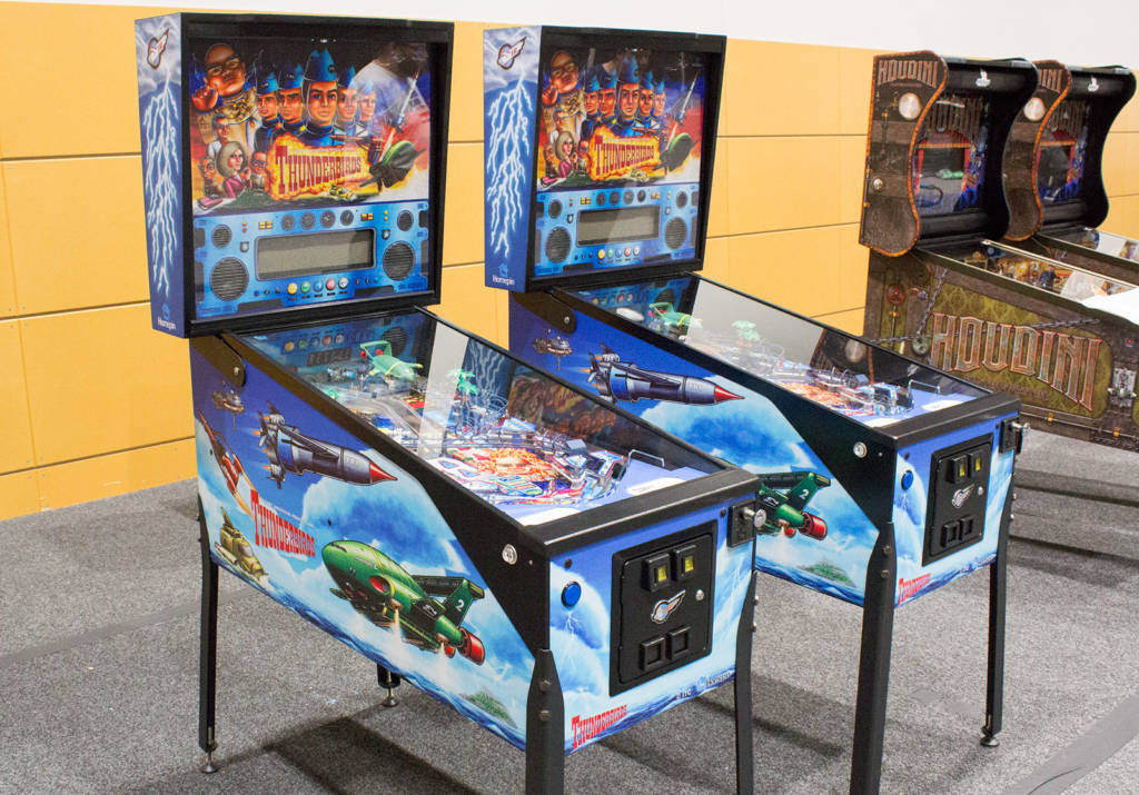 The two Thunderbirds machines on the Nitro Pinball stand