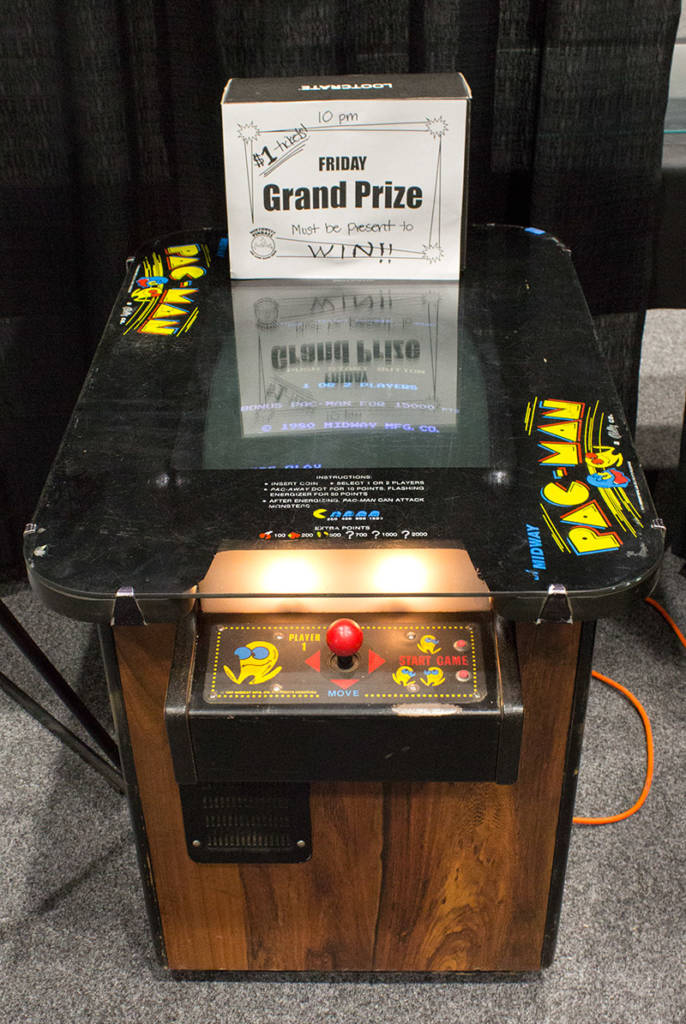 Friday's main prize, a Pac-Man cocktail game