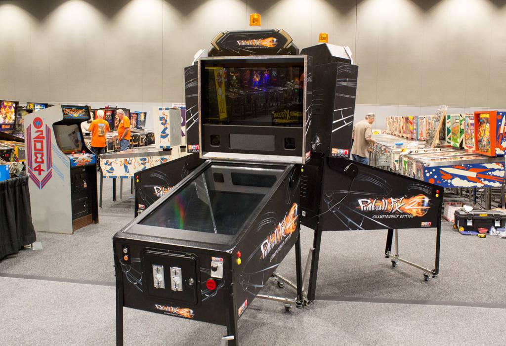 The three huge PinballFX machines dominate the central area