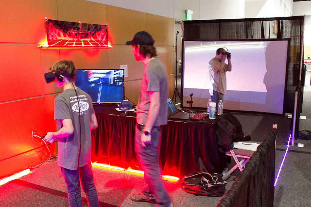 At the back of the hall, the Holodeck VR zone was getting busy