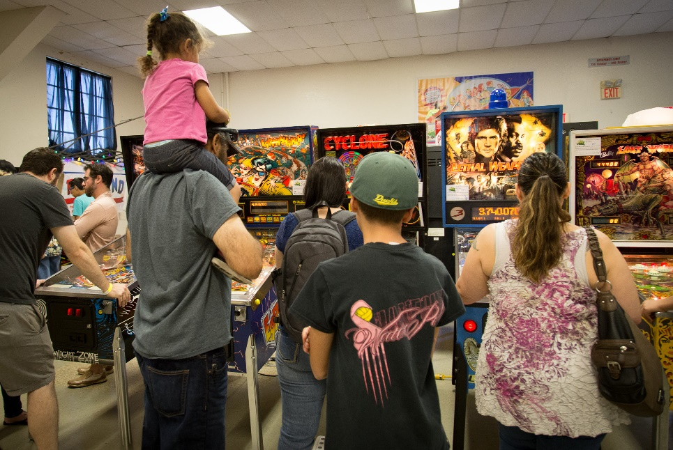 This family is getting a real treat playing some games from the late '70s through the '90s in the second hall