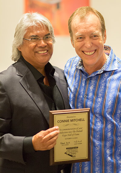 Connie Mitchell is inducted into the Pinball Expo Hall of Fame