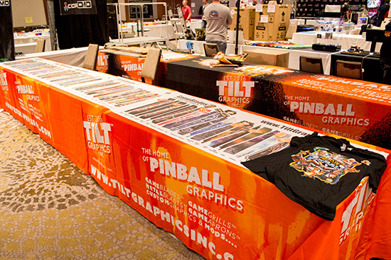 Tilt Graphics were showing the many pinball blades and artwork pieces they sell