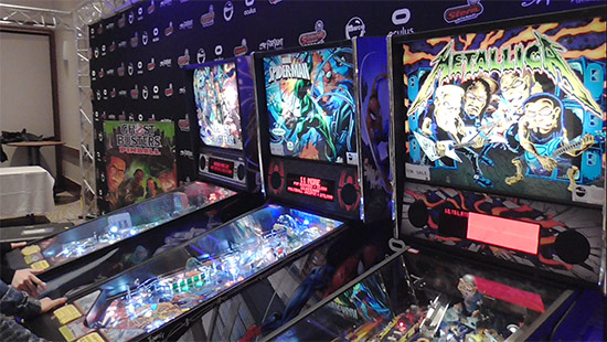 Four machines were set up to play to the left of the back doors - Ghostbusters Pro, Spider-Man VE, Metallica Pro and Laser War