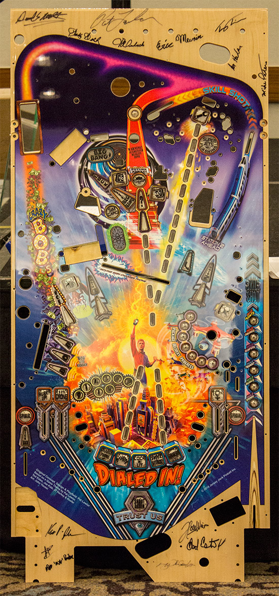 The artwork on a signed playfield which was being auctioned-off