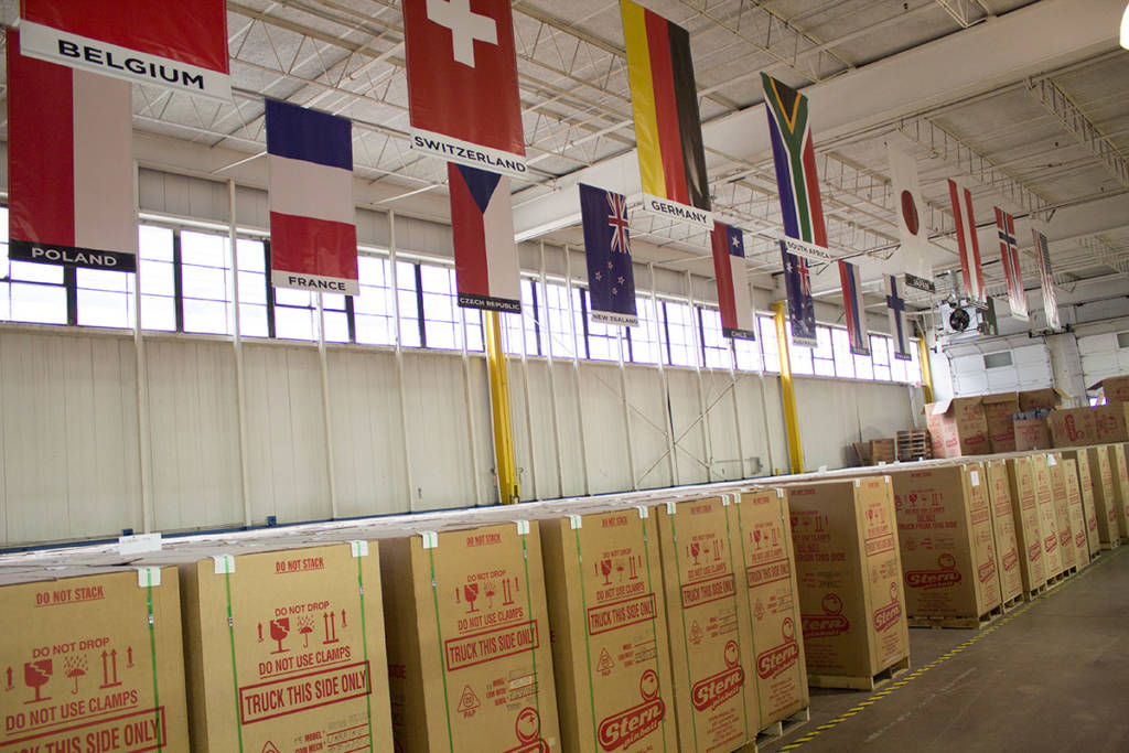 Boxed games under flags of countries where Stern sells their products