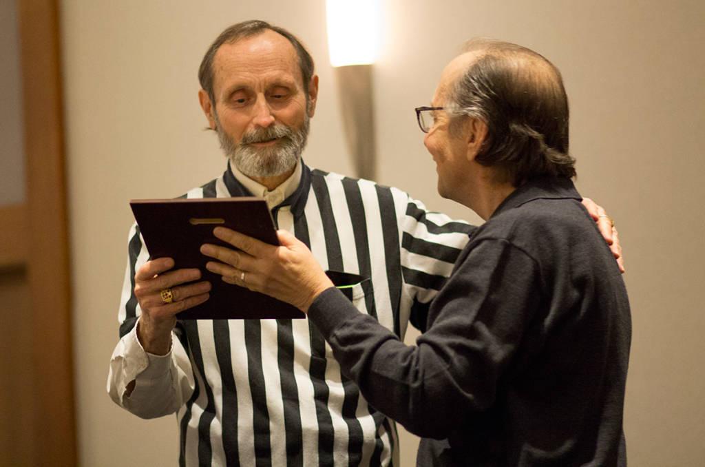 Walter Day receives his award