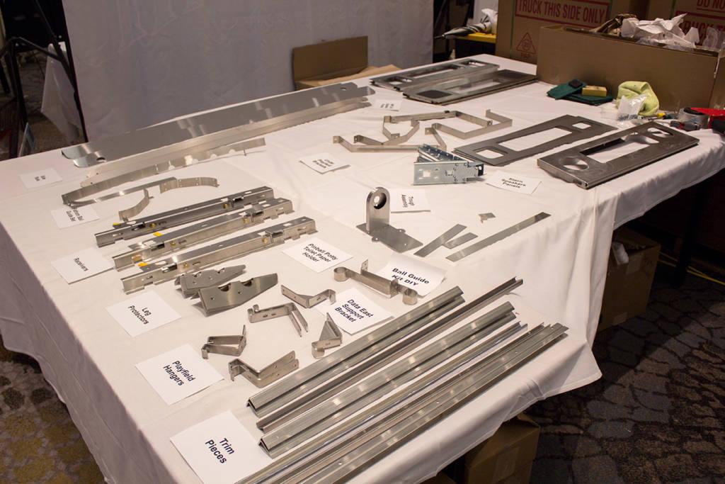 Behind the Houdinis, Matis Amusements had mutliple reproduction metal pinball parts