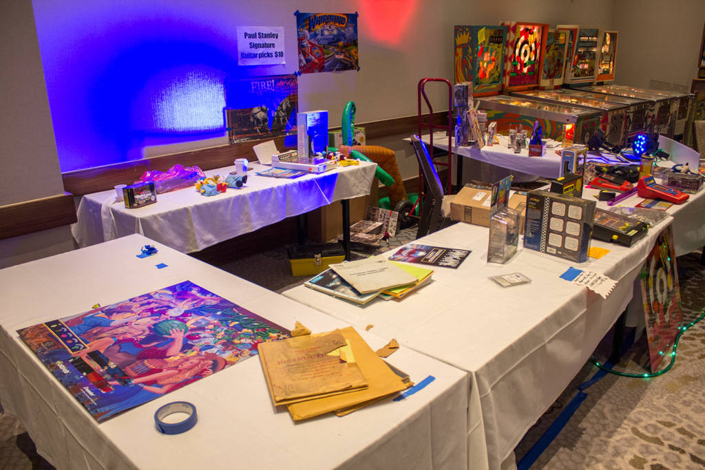 Derek Fugate has a stand selling pinball memorabilia and collectibles