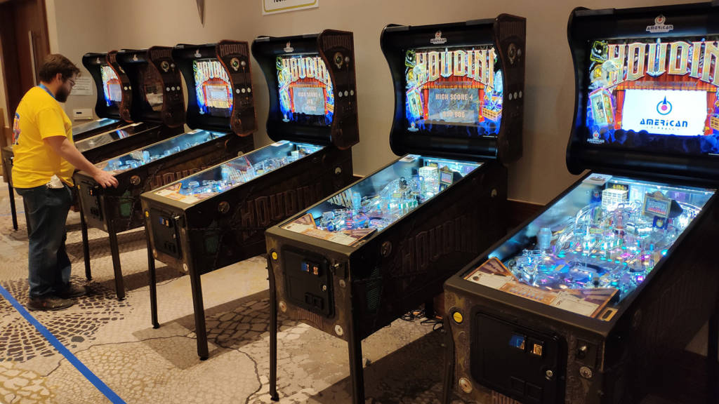 American Pinball filled up the space previously occupied by Mike Pacak with a row of ten Houdini machines