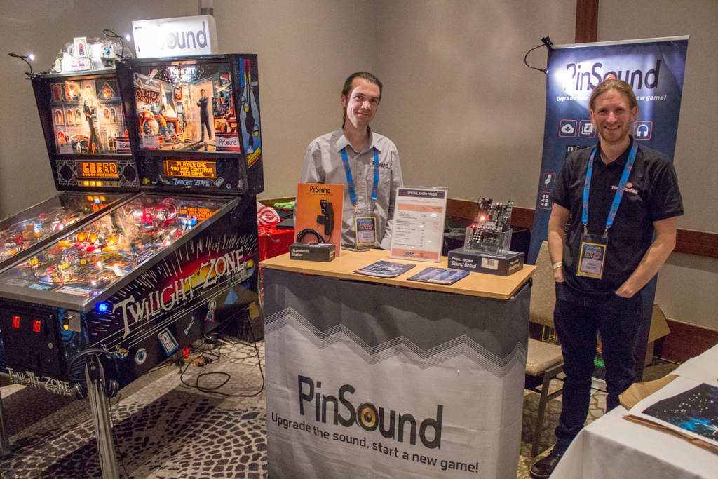 Nicolas and Romain from PinSound were to the left of the old main entrance with their replacement sound board and custom sound packages for various games