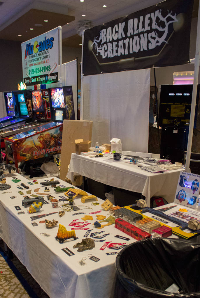 Back Alley Creations had their selection of customised pinball parts and bespoke mods