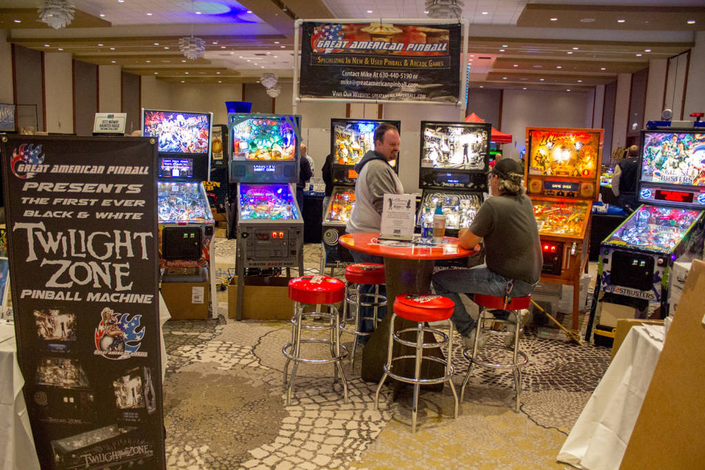 Great American Pinball had their selection of new and beautifully-restored pinballs