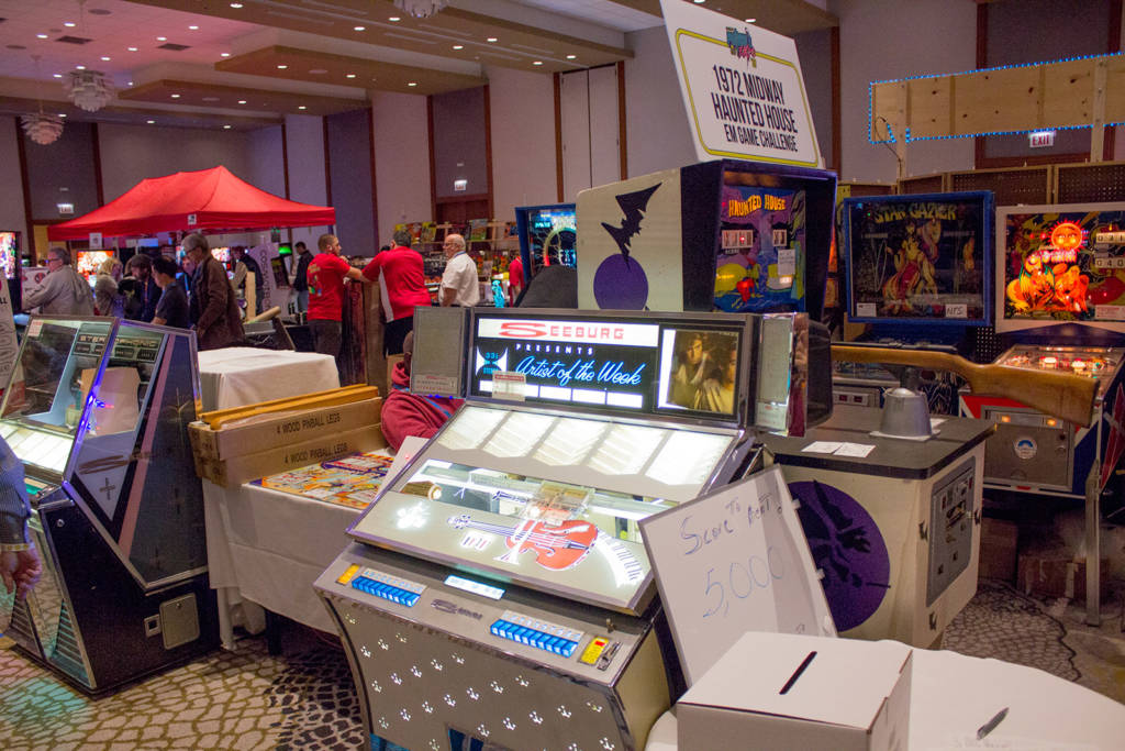 Pinball Expo organiser Rob Berk brought quite a few of his own machines