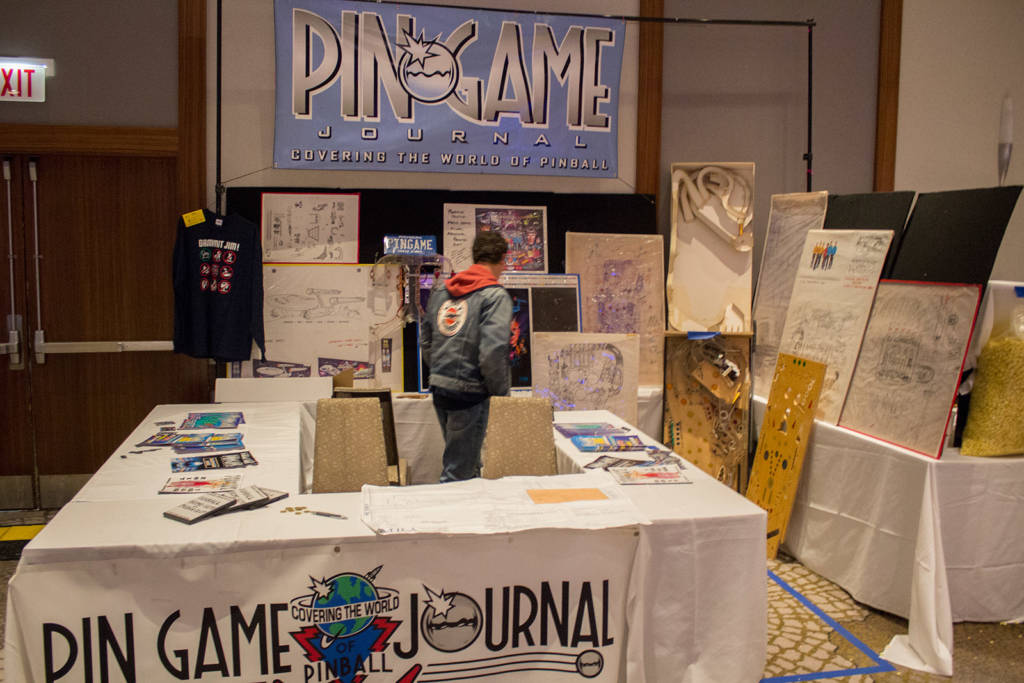 The Pingame Journal stand had a display of prototype and development drawings and playfields