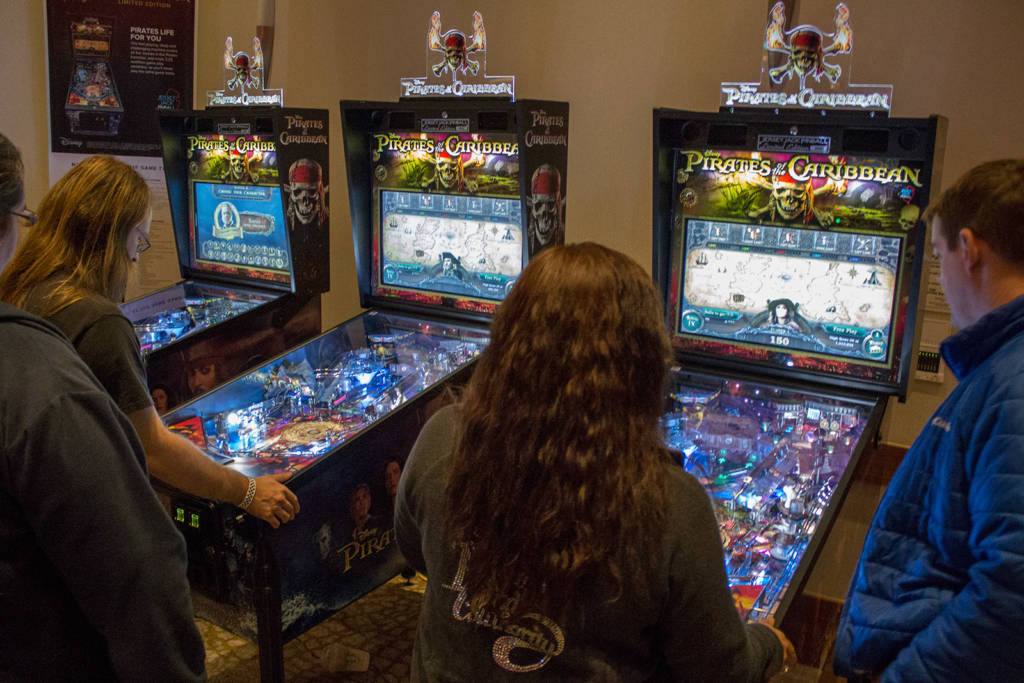 Jersey Jack Pinball had three of their Pirates of the Caribbean pinballs for visitors to play