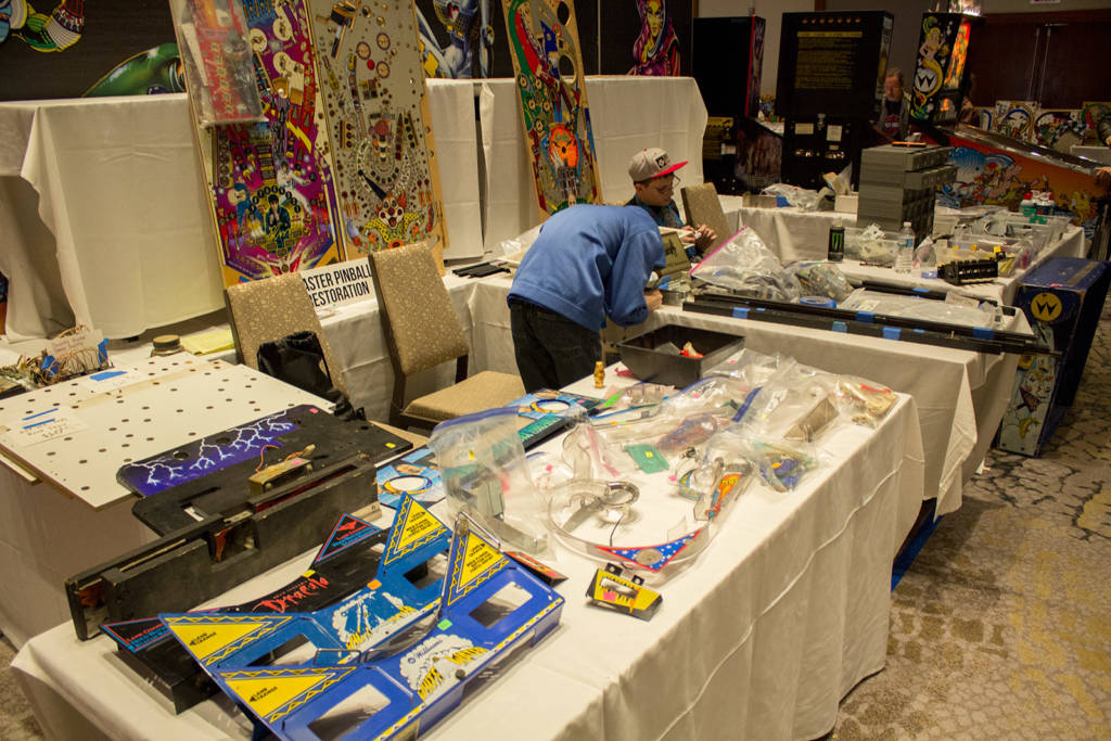 Master Pinball Restoration had a stand featuring pre-owned pinball parts from various games