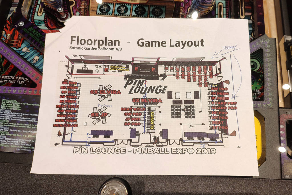 The layout for the Pin Lounge