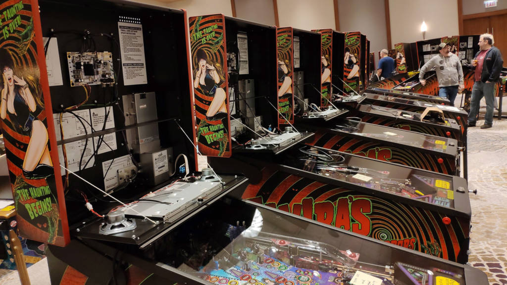A row of Elvira's House of Horrors machines