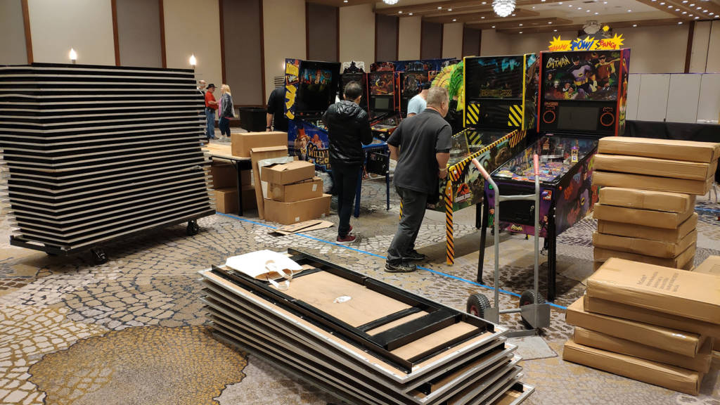Tables and machines being set up