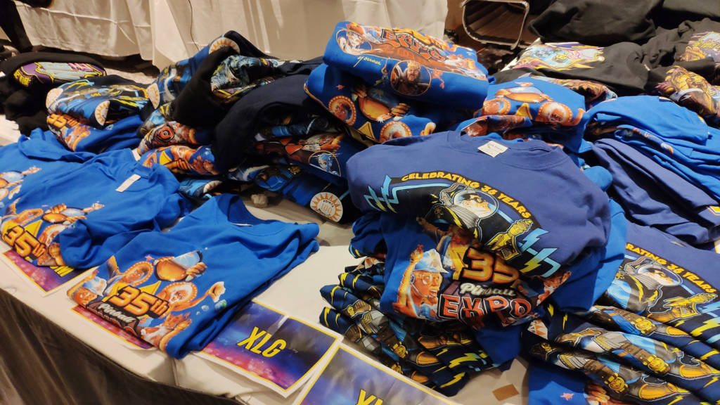 Pinball Expo T-shirts, sweatshirts and hoodies had arrived at the registration desk